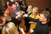 New York, NY - March 12, 2015: Guests toasting at the New York City press preview for the Ballymaloe Literary Festival of Food and Wine, hosted by Irish celebrity chef Darina Allen.<br /> <br /> CREDIT: Clay Williams for Ballymaloe Literary Festival.<br /> <br /> &copy; Clay Williams / claywilliamsphoto.com