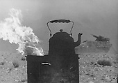 Field view of kettle on for coffee during lull in fighting during the Yom Kippur War, 1973.