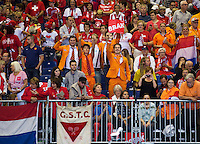 Switserland, Genève, September 19, 2015, Tennis,   Davis Cup, Switserland-Netherlands, Doubles: Dutch supporters<br /> Photo: Tennisimages/Henk Koster