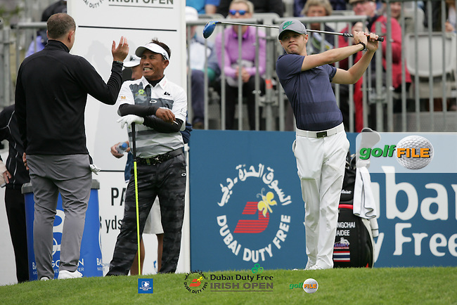 Thongchai Jaidee (THA) and Niall Horan during Wednesday's Pro-Am ahead of the 2016 Dubai Duty Free Irish Open Hosted by The Rory Foundation which is played at the K Club Golf Resort, Straffan, Co. Kildare, Ireland. 18/05/2016. Picture Golffile | TJ Caffrey.<br /> <br /> All photo usage must display a mandatory copyright credit as: &copy; Golffile | David Lloyd.