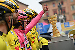 Race leader Primoz Roglic (SLO) and Team Jumbo-Visma at sign on before a wet Stage 2 of the 2019 Giro d'Italia, running 205km from Bologna to Fucecchio, Italy. 12th May 2019<br /> Picture: Gian Mattia D'Alberto/LaPresse | Cyclefile<br /> <br /> All photos usage must carry mandatory copyright credit (© Cyclefile | Gian Mattia D'Alberto/LaPresse)