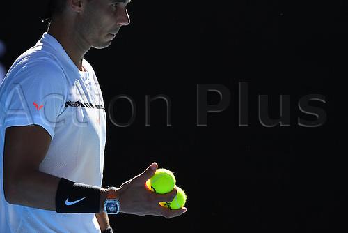 January 21st 2017, Melbourne Park, Melbourne, Australia; Rafael Nadal (ESP) in his match against Alexander Zverev (GER) in the third round of the 2017 Australian Open Tennis Grand Slam tournament; Nadal won 4-6 6-3 6-7(5) 6-3 6-2