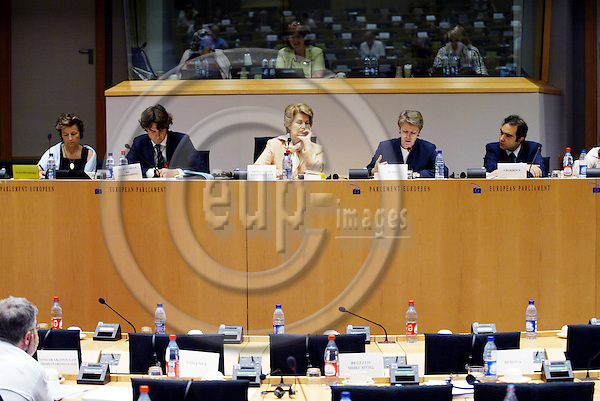 BRUSSELS - BELGIUM - 13 JULY 2005 -- Public Hearing Tenth Anniversary of the Euro-Mediterranean Partnership--From left Anneli JAATTENMAKI, MEP, unknown civil servant, Baroness NICHOLSON OF WINTERBOURNE, MEP and Vicepresident of Committee on Foreign Affairs, Muriel DUNBAR, Director of ETF European Training Foundation, and Borhene CHAKROUN, Country Manager at ETF.  PHOTO: ERIK LUNTANG / EUP-IMAGES..