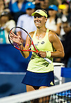 Angelique Kerber (GER) during her quarterfinal match against Agnieszka Radwanska (POL) at the Bank of the West Classic in Stanford, CA on August 8, 2015. Kerber moved onto the semis after beating Radwanska 46 64 64