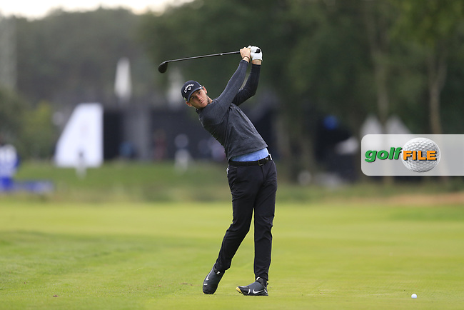 Thomas Pieters (BEL) on the 18th during the 1st round at the Porsche European Open, Green Eagles Golf Club, Luhdorf, Winsen, Germany. 05/09/2019.<br /> Picture Fran Caffrey / Golffile.ie<br /> <br /> All photo usage must carry mandatory copyright credit (© Golffile | Fran Caffrey)
