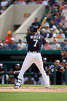 Detroit Tigers shortstop Jordy Mercer (7) at bat during a Grapefruit League Spring Training game against the New York Yankees on February 27, 2019 at Publix Field at Joker Marchant Stadium in Lakeland, Florida.  Yankees defeated the Tigers 10-4 as the game was called after the sixth inning due to rain.  (Mike Janes/Four Seam Images)