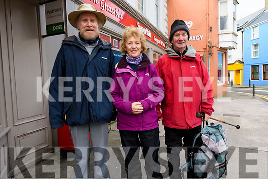 Michael and Mary Murphy (Dún Chaoin) with Denis O'Sullivan (Dingle) at the start of the Glens to Cloghane walk as part of the Storm Festival on Sunday.
