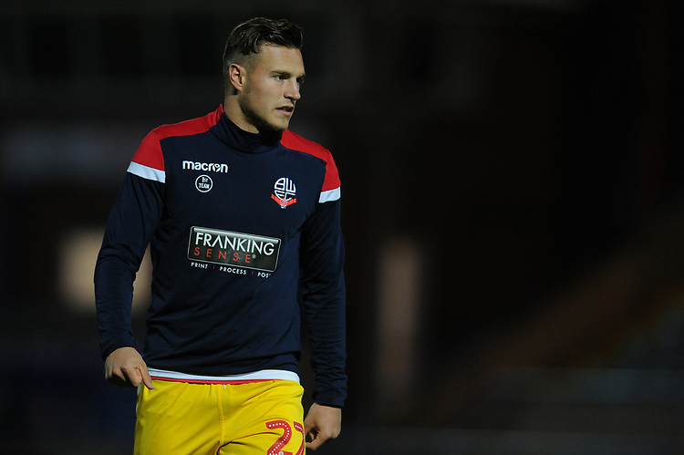 Bolton Wanderers' Dennis Politic during the pre-match warm-up <br /> <br /> Photographer Kevin Barnes/CameraSport<br /> <br /> EFL Leasing.com Trophy - Northern Section - Group F - Rochdale v Bolton Wanderers - Tuesday 1st October 2019  - University of Bolton Stadium - Bolton<br />  <br /> World Copyright © 2018 CameraSport. All rights reserved. 43 Linden Ave. Countesthorpe. Leicester. England. LE8 5PG - Tel: +44 (0) 116 277 4147 - admin@camerasport.com - www.camerasport.com