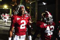 Jan 7, 2010; Pasadena, CA, USA; Alabama Crimson Tide quarterback (2) Star Jackson and running back (42) Eddie Lacy against the Texas Longhorns during the 2010 BCS national championship game at the Rose Bowl. Alabama defeated Texas 37-21. Mandatory Credit: Mark J. Rebilas-