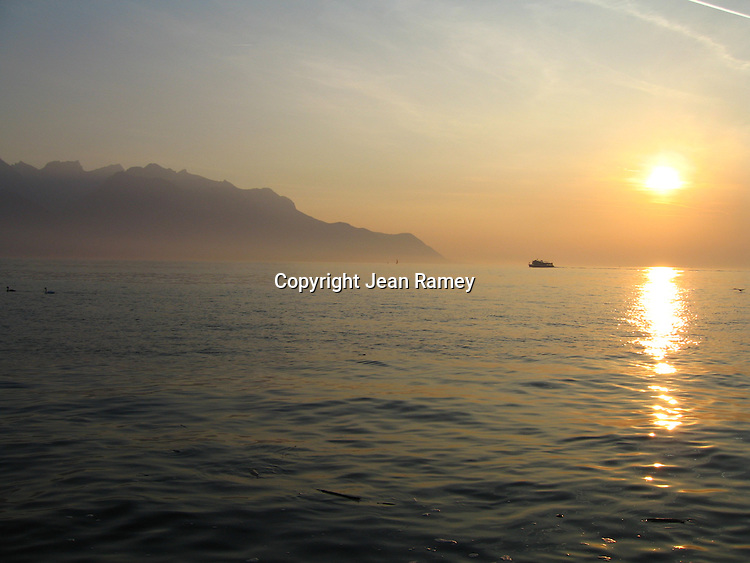 Sunset on Lake Geneva, Switzerland