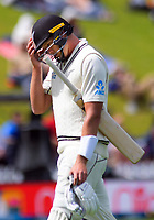 Kyle Jamieson walks off after his dismiassal during day three of the International Test Cricket match between the New Zealand Black Caps and India at the Basin Reserve in Wellington, New Zealand on Sunday, 23 February 2020. Photo: Dave Lintott / lintottphoto.co.nz