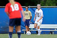 2 October 2011:  FIU midfielder/forward Nicole DiPerna (16) looks to pass the ball in the second half as the FIU Golden Panthers defeated the University of South Alabama Jaguars, 2-0, at University Park Stadium in Miami, Florida.