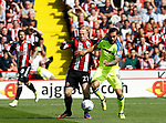 John Fleck of Sheffield Utd  and Bradley Johnson of Derby County during the Championship match at Bramall Lane, Sheffield. Picture date 26th August 2017. Picture credit should read: Simon Bellis/Sportimage