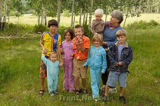 Ed Zambrano, Ollie Zambrano, Wilcox girls, Noah Nelson, Nathaniel Nelson, Madeline Quayle. Camping in the La Sal Mountains, Warner Lake.; 7.25.2005<br />