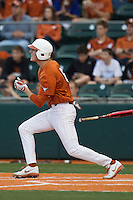 Texas Longhorns third baseman Erich Weiss #6 follows through on his swing against the Oklahoma Sooners in the NCAA baseball game on April 5, 2013 at UFCU DischFalk Field in Austin Texas. Oklahoma defeated Texas 2-1. (Andrew Woolley/Four Seam Images).