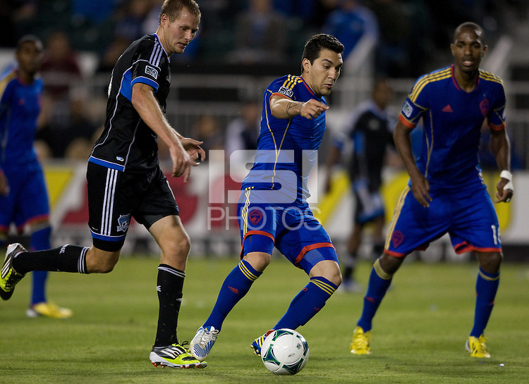 Martin Rivero of Rapids in action during the game against the Earthquakes at Buck Shaw Stadium in Santa Clara, California on May 18th, 2013.  San Jose Earthquakes tied Colorado Rapids, 1-1.