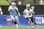 DURHAM, NC - APRIL 30: Notre Dame's Brendan Gleason (9) and UNC's Ryan Macri (20). The University of North Carolina Tar Heels played the University of Notre Dame Fighting Irish on April 30, 2017, at Koskinen Stadium in Durham, NC in a 2017 ACC Men's Lacrosse Tournament Championship match. UNC won the game 14-10.