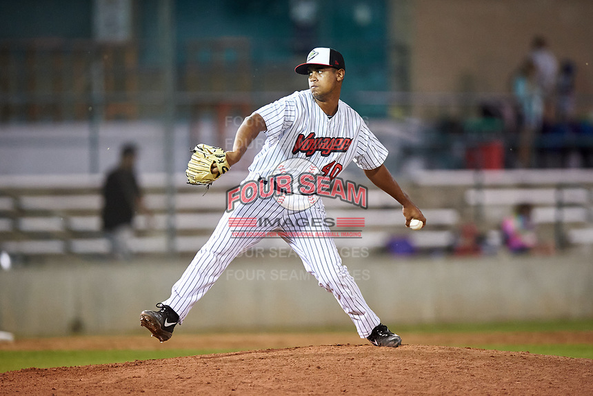 Great Falls Voyagers relief pitcher Sammy Peralta (40) during a Pioneer League game against the Missoula Osprey at Centene Stadium at Legion Park on August 19, 2019 in Great Falls, Montana. Missoula defeated Great Falls 1-0 in the second game of a doubleheader. (Zachary Lucy/Four Seam Images)