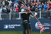 Hugging his caddie Tom Ridley, Matthew Fitzpatrick (ENG) wins the Final Round of the British Masters 2015 supported by SkySports played on the Marquess Course at Woburn Golf Club, Little Brickhill, Milton Keynes, England.  11/10/2015. Picture: Golffile | David Lloyd<br /> <br /> All photos usage must carry mandatory copyright credit (© Golffile | David Lloyd)
