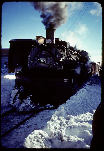 Front end view of K-36 #487 in Chama.<br /> C&amp;TS  Chama, NM  prior to 2/1978