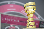 The Trofeo Senza Fine on display at sign on before the start of Stage 17 of the 2018 Giro d'Italia, The Franciacorta Stage running 155km from Riva del Garda to Iseo, Italy. 23rd May 2018.<br /> Picture: LaPresse/Fabio Ferrari | Cyclefile<br /> <br /> <br /> All photos usage must carry mandatory copyright credit (&copy; Cyclefile | LaPresse/Fabio Ferrari)