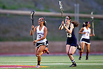 San Diego, CA 04/19/10 - Camille Doan (Torrey Pines #2) and Megan Lax (La Costa Canyon #13) in action during the Torrey Pines-La Costa Canyon Girls Lacrosse game at Torrey Pines.