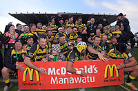 Yellows celebrate winning the 2019 Manawatu premier club rugby Hankins Shield final match between Varsity and Feilding Yellows at CET Arena in Palmerston North, New Zealand on Saturday, 13 July 2019. Photo: Dave Lintott / lintottphoto.co.nz