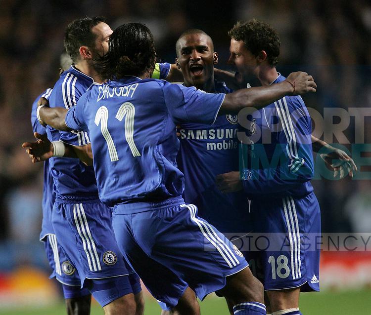 Chelsea's Florent Malouda celebrates his goal with his teamates