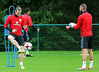 Joe Ledley and Gareth Bale in action during the Wales Training Session at the Vale Resort, Hensol, Wales, UK. Tuesday 29 August 2017