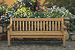 Wooden bench with flowers, Vail Village, Colorado. .  John offers private photo tours in Denver, Boulder and throughout Colorado. Year-round Colorado photo tours.