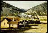 D&amp;RGW #489 passing section house.<br /> D&amp;RGW  Salida area ?, CO