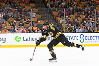 September 26, 2018: Boston Bruins right wing David Backes (42) takes a shot during the NHL pre-season game between the Detroit Red Wings and the Boston Bruins held at TD Garden, in Boston, Mass. Detroit defeats Boston 3-2 in overtime. Eric Canha/CSM