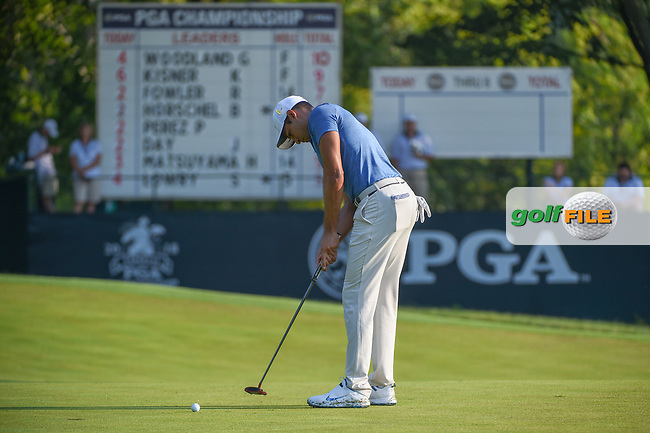 Julian Suri (USA) sinks his putt on 9 during 2nd round of the 100th PGA Championship at Bellerive Country Club, St. Louis, Missouri. 8/11/2018.<br /> Picture: Golffile | Ken Murray<br /> <br /> All photo usage must carry mandatory copyright credit (© Golffile | Ken Murray)