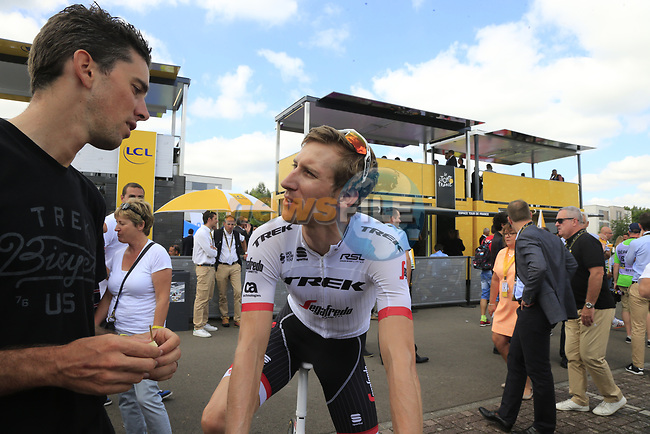 Bauke Mollema (NED) Trek-Segafredo in the Tour Village in Mondorf-les-Bains before the start of Stage 4 of the 104th edition of the Tour de France 2017, running 207.5km from Mondorf-les-Bains, Luxembourg to Vittel, France. 4th July 2017.<br /> Picture: Eoin Clarke | Cyclefile<br /> <br /> <br /> All photos usage must carry mandatory copyright credit (&copy; Cyclefile | Eoin Clarke)