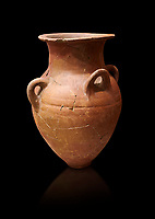 Hittite terra cotta four handled pot. Hittite Empire, Alaca Hoyuk, 1450 - 1200 BC. Alaca Hoyuk. Çorum Archaeological Museum, Corum, Turkey. Against a black bacground.