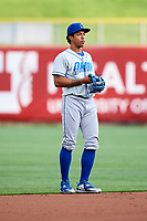 Raul Mondesi (26) of the Omaha Storm Chasers during the game against the Salt Lake Bees in Pacific Coast League action at Smith's Ballpark on May 8, 2017 in Salt Lake City, Utah. Salt Lake defeated Omaha 5-3. (Stephen Smith/Four Seam Images)