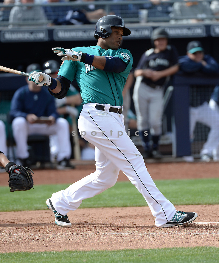 Seattle Mariners Robinson Cano (22) during a preseason game against the Arizona Diamondbacks on March 7, 2016 at the Peoria Sports Complex in Peoria, AZ. The Diamondbacks beat the Mariners 10-8.