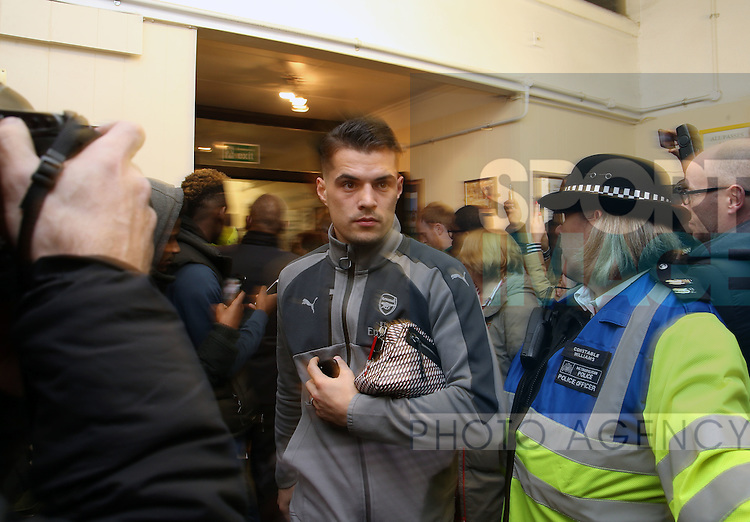 Arsenal's Granit Xhaka arrives during the FA Cup Fifth Round match at the Borough Sports Ground Stadium, London. Picture date: February 20th, 2017.Pic credit should read: David Klein/Sportimage