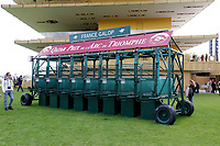 LONGCHAMP, FRANCE - October 06, 2018: Starting Gate in front of the renovated Grandstand on the Longchamp race track.