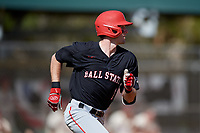 Ball State Cardinals center fielder Aaron Simpson (1) runs to first base during a game against the Saint Joseph's Hawks on March 9, 2019 at North Charlotte Regional Park in Port Charlotte, Florida.  Ball State defeated Saint Joseph's 7-5.  (Mike Janes/Four Seam Images)