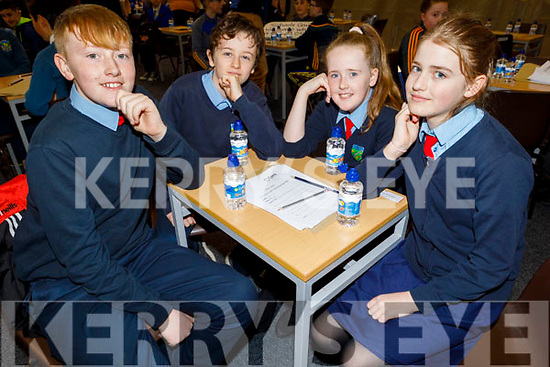 Scoil Eda Curranes Castleisland taking part in the Cara Credit Union School Quiz in the I T Tralee on Sunday. L to r: Max O'Connell, Nathan Kirby, Moya McAuliffe and Roisin Bell.