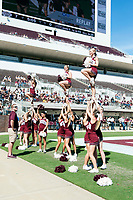 Cheerleaders at the Maroon and White football game.<br />  (photo by Beth Wynn / &copy; Mississippi State University)