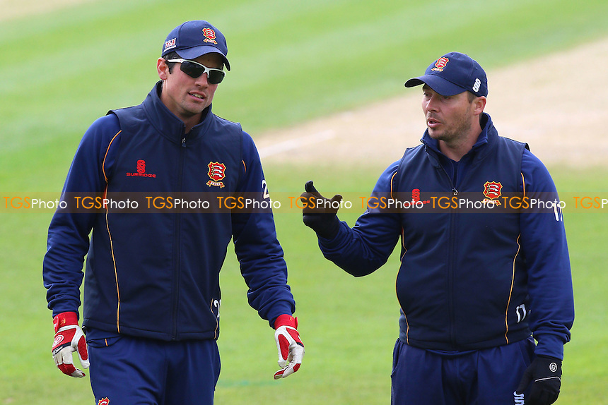 Alastair Cook (L) and Graham Napier of Essex during the warm up ahead of Worcestershire CCC vs Essex CCC, Specsavers County Championship Division 2 Cricket at New Road on 1st May 2016