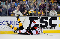 Tuesday, March 21, 2017: Boston Bruins center Frank Vatrano (72) and Ottawa Senators defenseman Mark Borowiecki (74) both go down on the ice during the National Hockey League game between the Ottawa Senators and the Boston Bruins held at TD Garden, in Boston, Mass. Ottawa defeats Boston 3-2 in regulation time. Eric Canha/CSM
