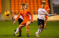 Blackpool's Will McGladdery shields the ball from Derby County's Kornell McDonald<br /> <br /> Photographer Alex Dodd/CameraSport<br /> <br /> The FA Youth Cup Third Round - Blackpool U18 v Derby County U18 - Tuesday 4th December 2018 - Bloomfield Road - Blackpool<br />  <br /> World Copyright © 2018 CameraSport. All rights reserved. 43 Linden Ave. Countesthorpe. Leicester. England. LE8 5PG - Tel: +44 (0) 116 277 4147 - admin@camerasport.com - www.camerasport.com