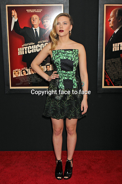 "Scarlett Johansson (is wearing a Rodarte dress, Gucci shoes, and Fred Leighton jewels) attends the premiere of ""Hitchcock"" at The Ziegfeld Theatre in New York, 18.11.2012. Credit: Rolf Mueller/face to face..Credit: Rolf Mueller/face to face"
