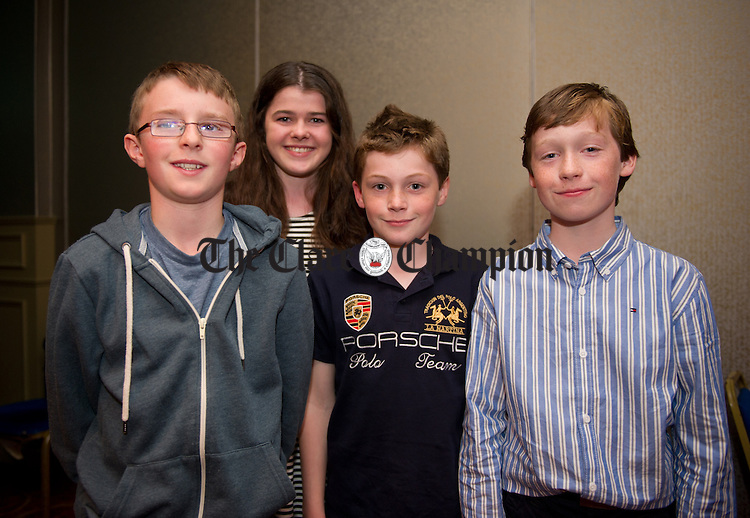 Shane Harrison, Hannah Bugler, Noah Mc Conway and Alex Mc Conway of Clooney-Quin at the Clare Community Games All-Star Awards night in Treacy's West County Hotel. Photograph by John Kelly.