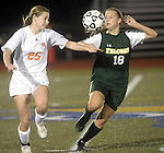 (worcester Ma 111513) Newton North 25, Christina Callahan and Minnechaug  18, Marissa Falcetti, during the MIAA State Girls Soccer Division 1 final, Friday, at Worcester State College in Worcester. (Jim Michaud Photo) For Saturday