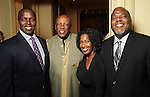 From left: Keneth Gayle, Louis Gossett Jr., Aisha Ussery and Phillip Hall at a dessert reception for Louis Gossett Jr. and the Anti-Defamation League at Chateau Carnarvon Tuesday Nov. 11, 2014.(Dave Rossman photo)