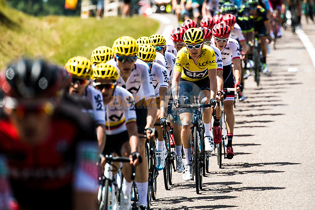The peloton with race leader Yellow Jersey Geraint Thomas (WAL) Team Sky during Stage 5 of the 104th edition of the Tour de France 2017, running 160.5km from Vittel to La Planche des Belles Filles, France. 5th July 2017.<br /> Picture: ASO/Alex Broadway   Cyclefile<br /> <br /> <br /> All photos usage must carry mandatory copyright credit (&copy; Cyclefile   ASO/Alex Broadway)